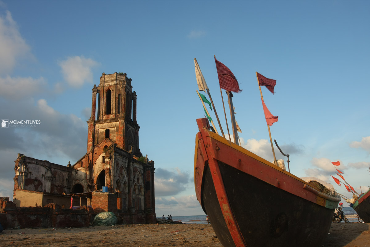 Fishing boats near a church