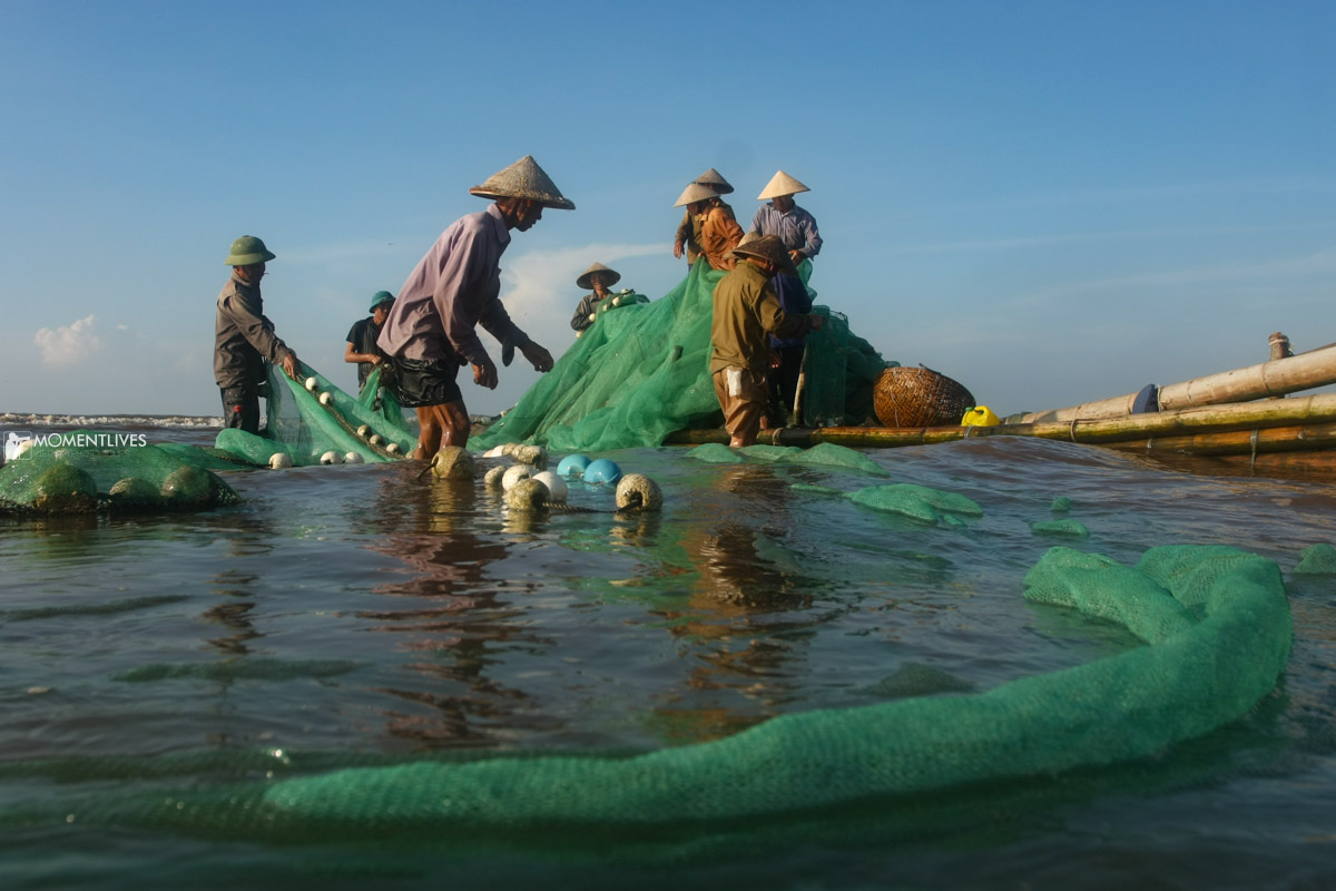 Local people fishing in Nam Dinh