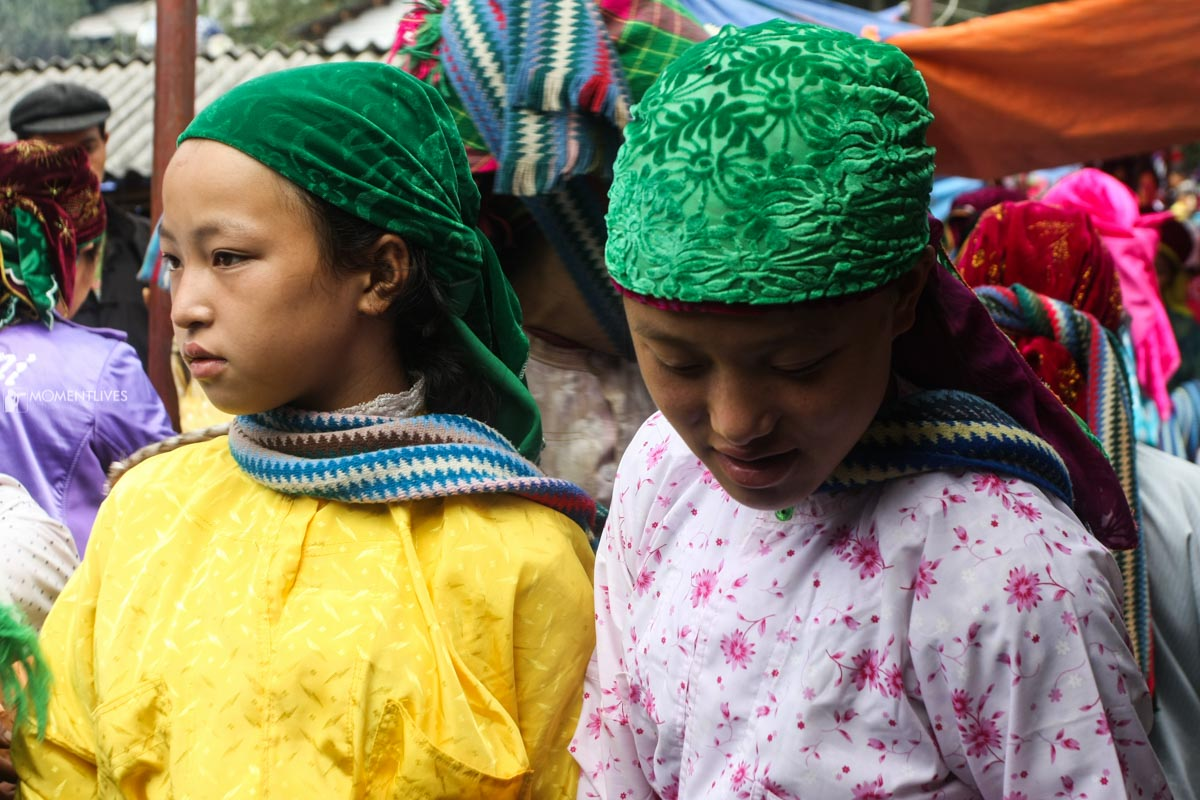Ethnic girls in a Ha Giang market