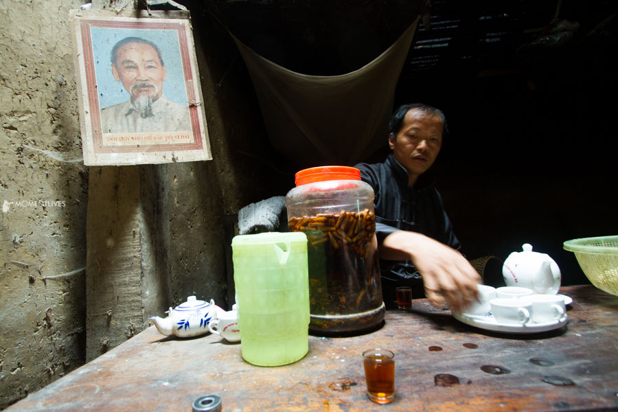Local man making tea in Ha Giang