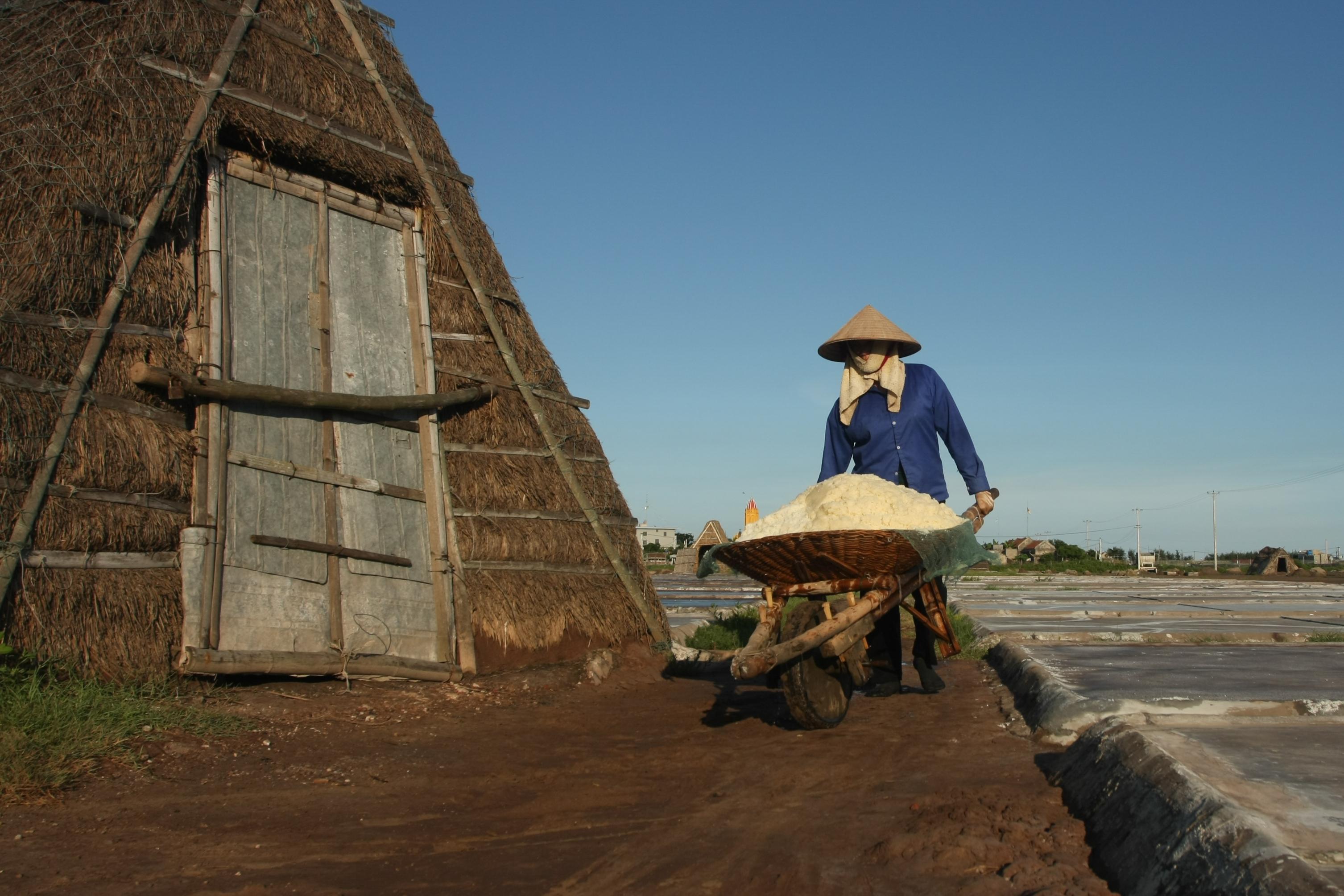 Nam Dinh people making salt