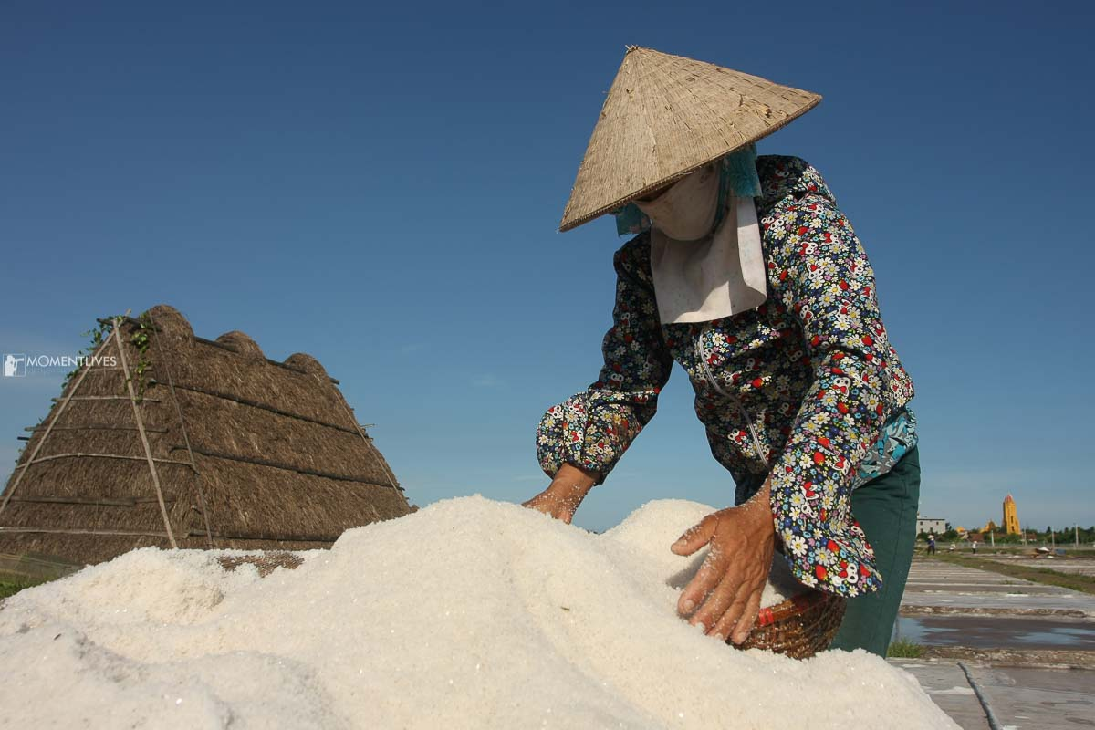 Local lady scooping salt in Nam Dinh, Vietnam