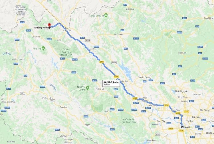 Map from Hanoi to Muong Hum