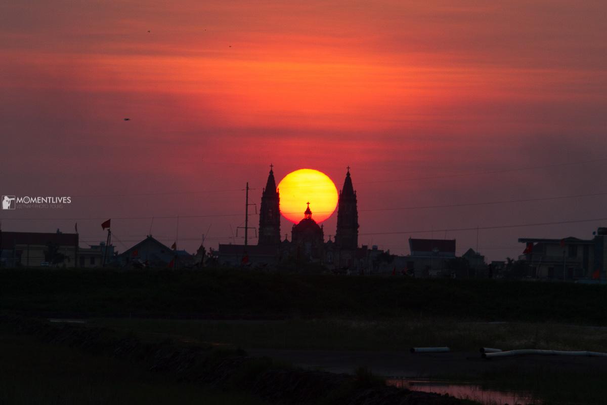 Sunset in Nam Dinh province, Vietnam
